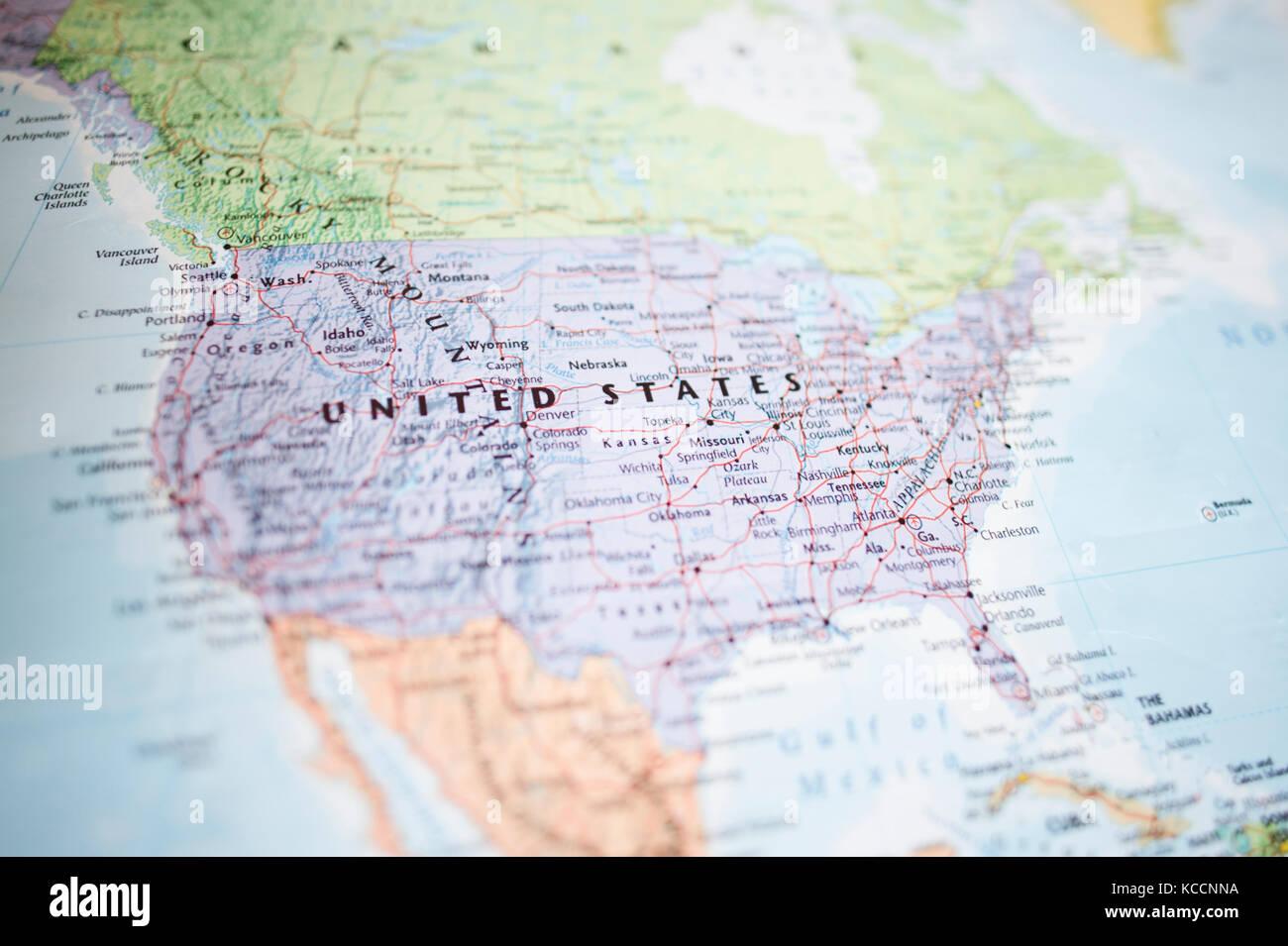 Fuoco Selettivo Mondo Mappa Geografica Lattenzione è Concentrata