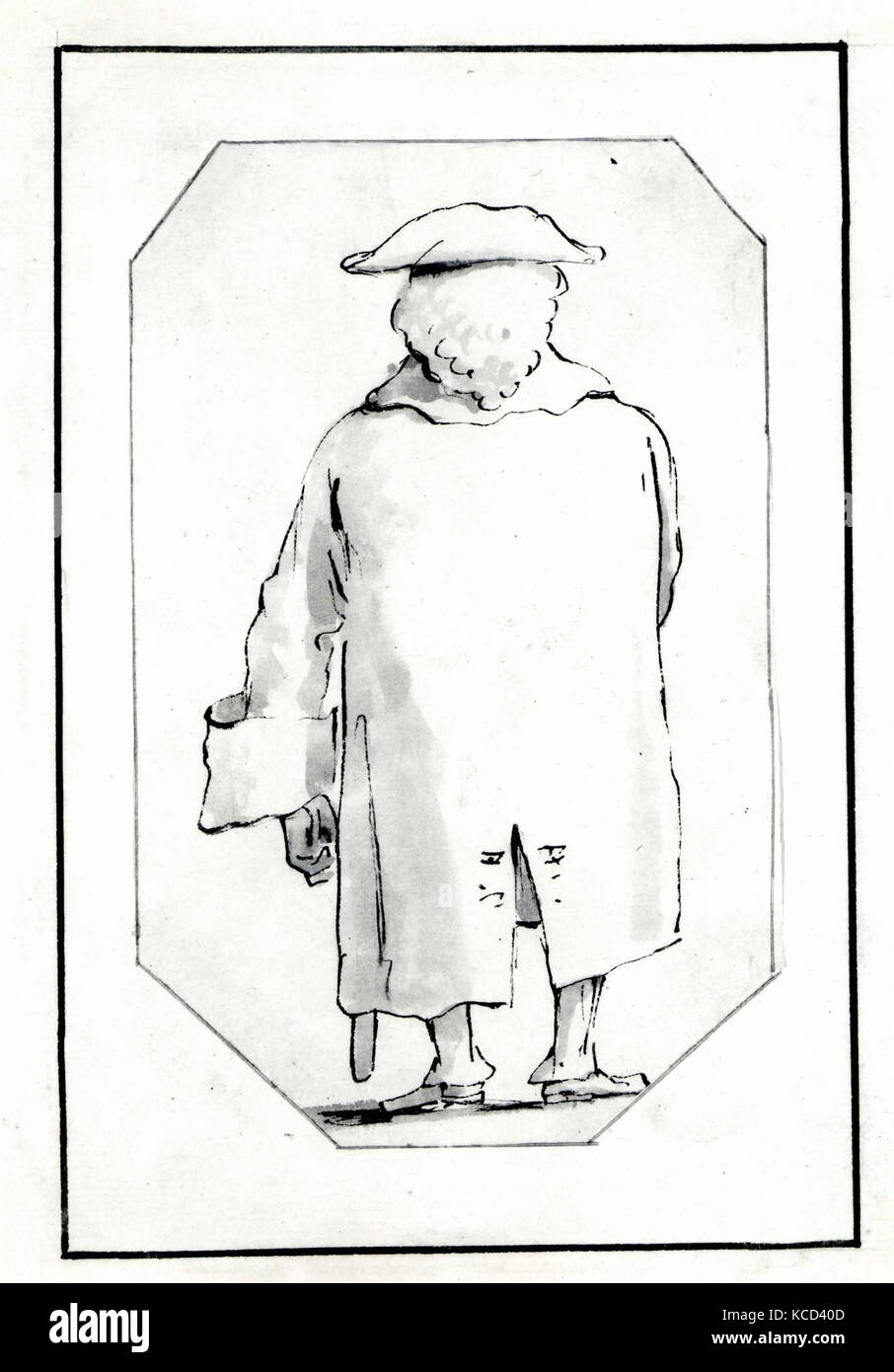La caricatura di un uomo che indossa una parrucca e un Tricorne 3708e28f1a5e
