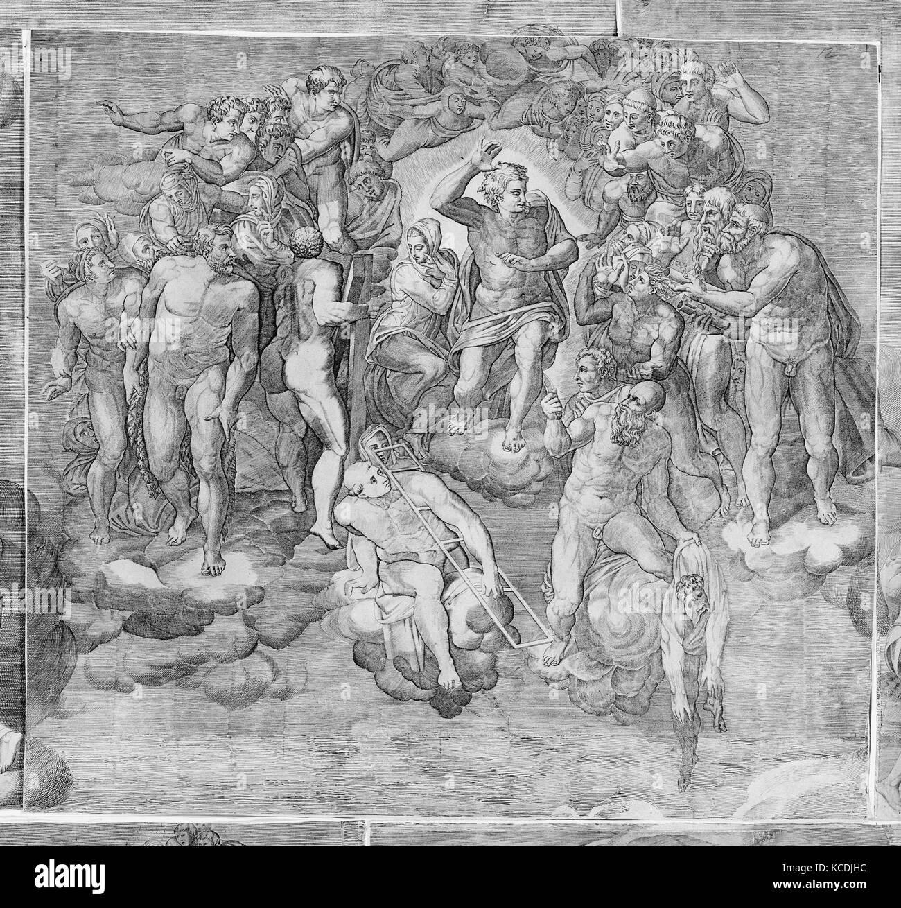 Cristo Giudice circondata dai santi (superiore sezione centrale del giudizio ultimo), inciso da Niccolò della Immagini Stock