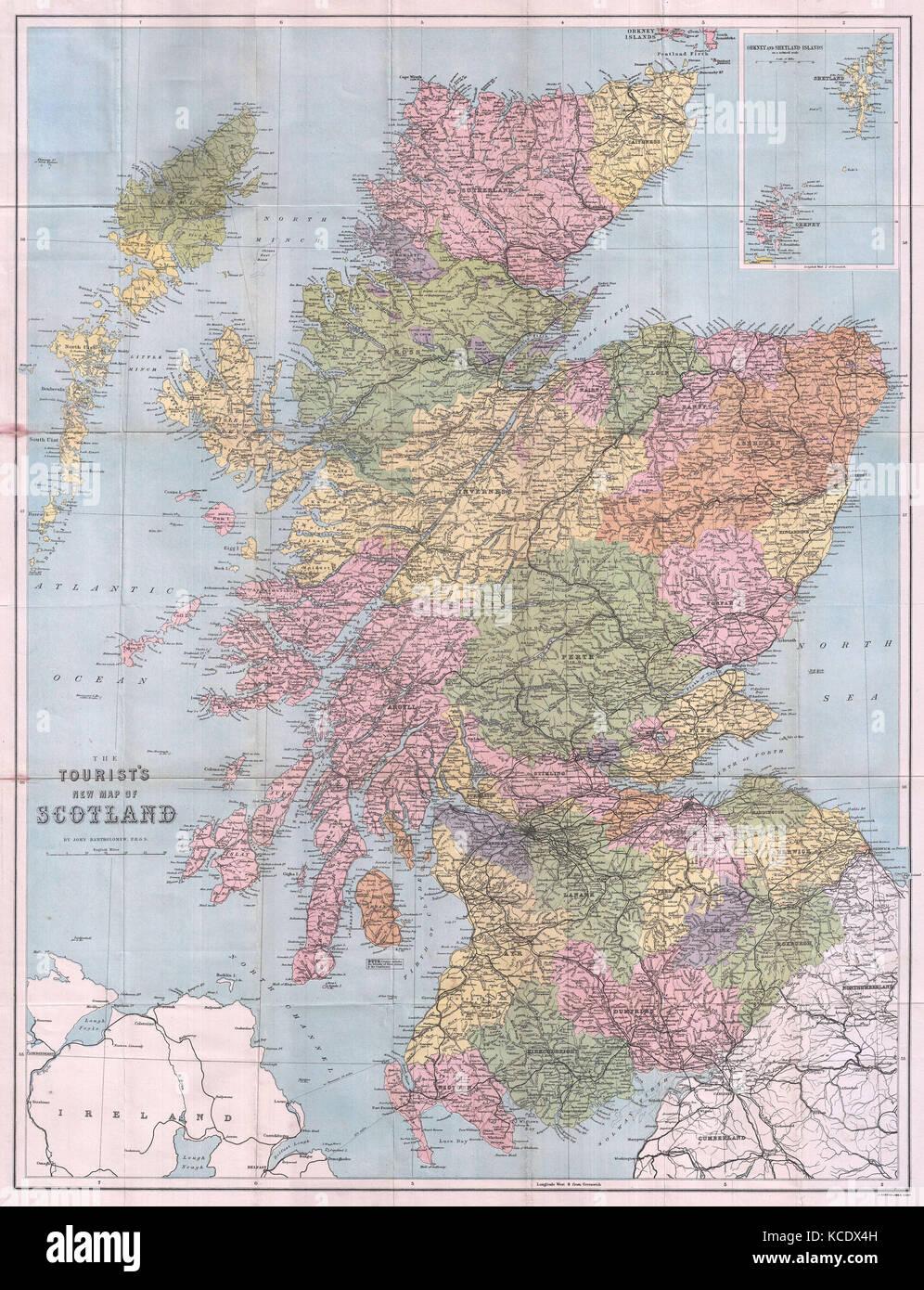 Cartina Geografica Della Scozia.1892 Turistico Della Nuova Mappa Della Scozia Foto Stock Alamy