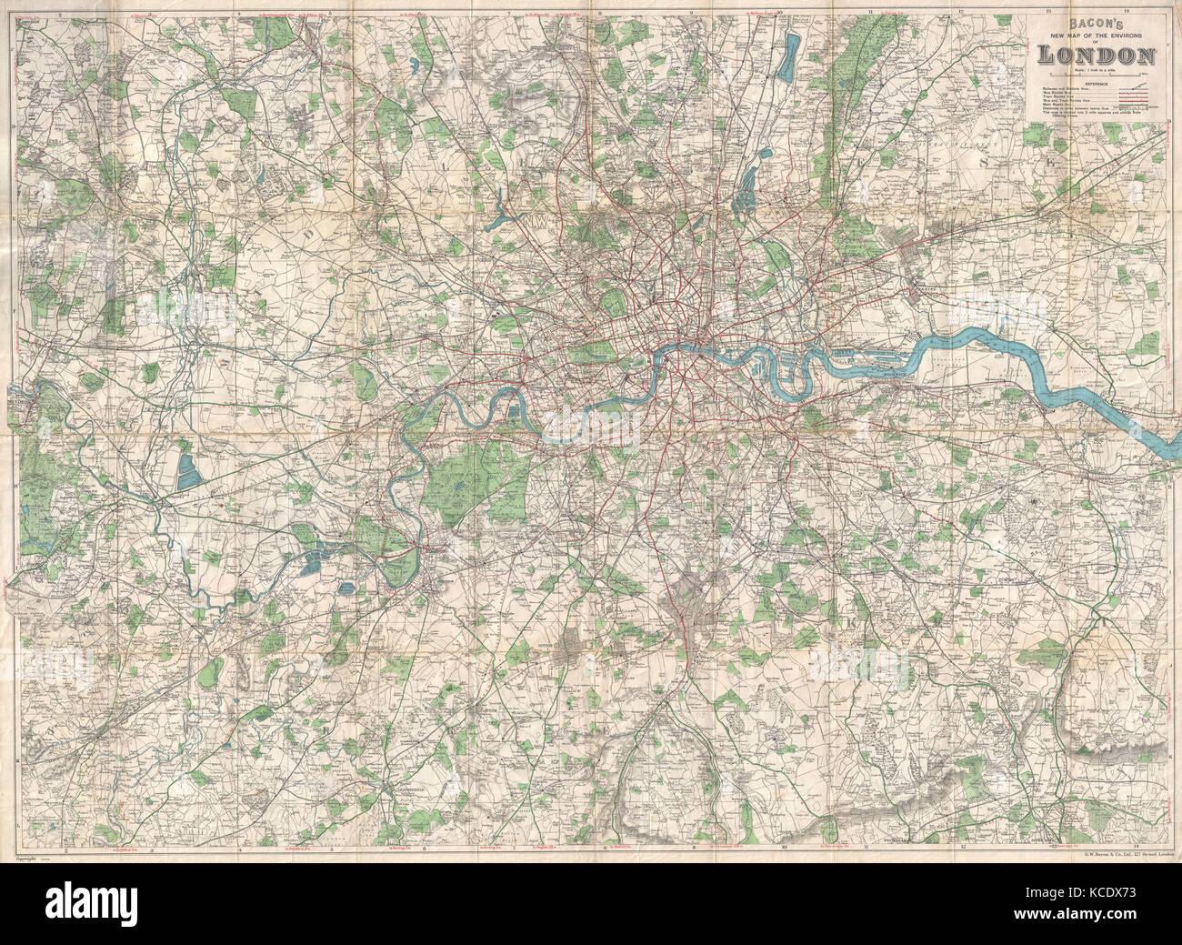 Cartina Di Londra E Dintorni.1920 Pancetta Pocket Mappa Di Londra Inghilterra E Dintorni Foto