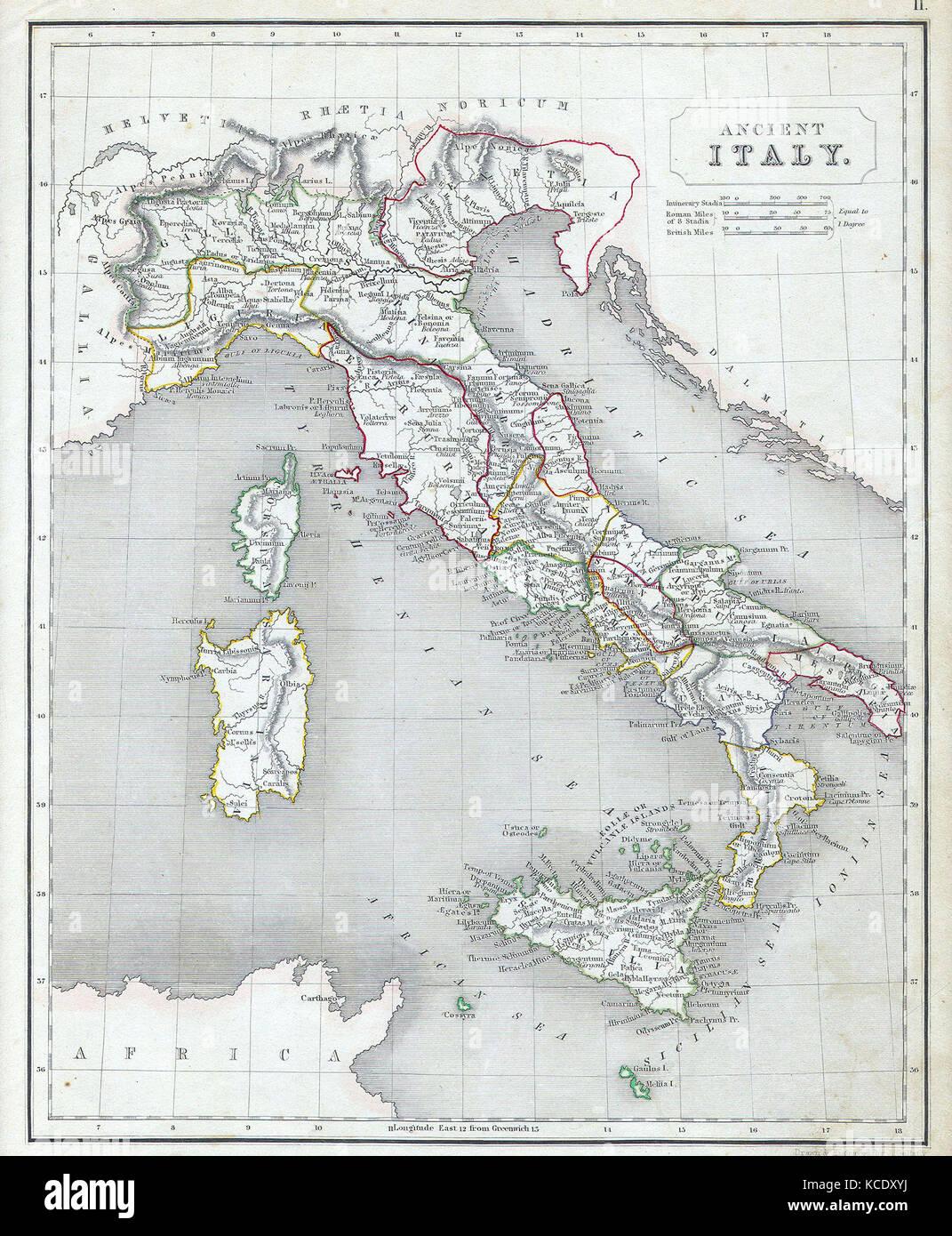 Mappa Dellitalia Antica.1845 Camere Mappa Dell Italia Antica Foto Stock Alamy