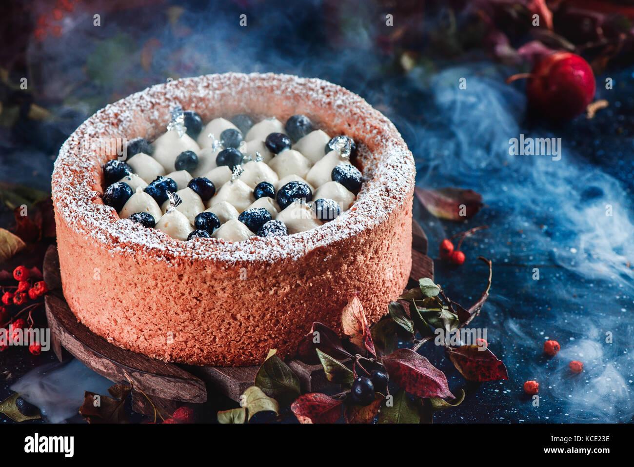 Panna montata e mirtillo torta con una crosta di pasta frolla su uno sfondo scuro. scuro fotografia alimentare con Immagini Stock