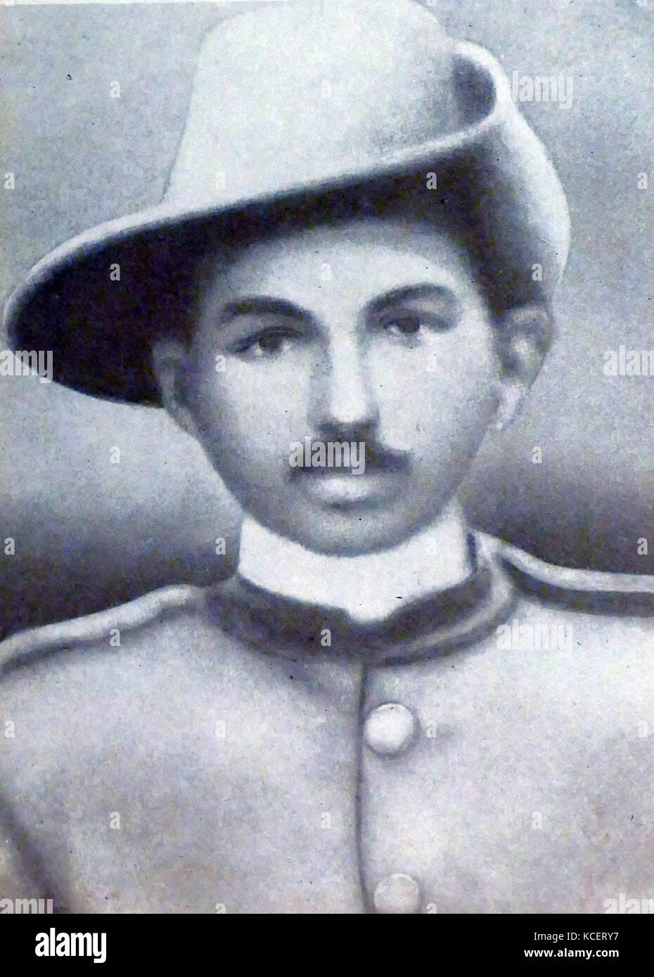 Mohandas Karamchand Gandhi, con il medico indiano corps durante la guerra boera in Sud Africa; 1899. Gandhi ha stabilito Immagini Stock