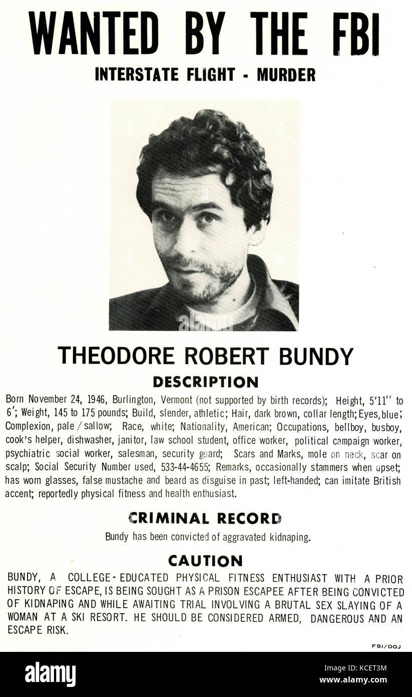 Theodore robert bundy (nato theodore robert cowell; 24 novembre 1946 - 24 gennaio 1989) era un american serial killer, Immagini Stock