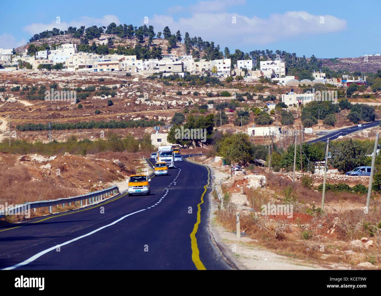 Insediamento israeliano in Cisgiordania, territorio palestinese vicino a Gerusalemme. 2016 Immagini Stock