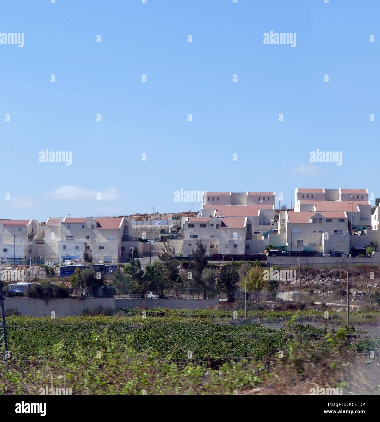 (Ebraico israeliano) insediamento in sviluppo in Cisgiordania, Palestina 2016 Immagini Stock