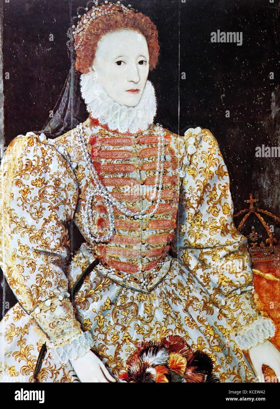 Queen Elizabeth ist dell'inghilterra, (1533-1603). regina 1558-1603. olio su pannello, c2670, da un artista Immagini Stock
