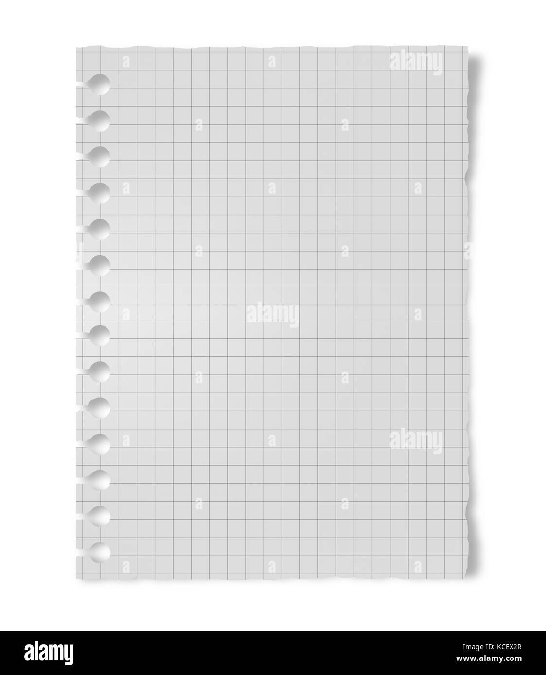 Crumpled foglio di carta bianco isolato su sfondo bianco Immagini Stock