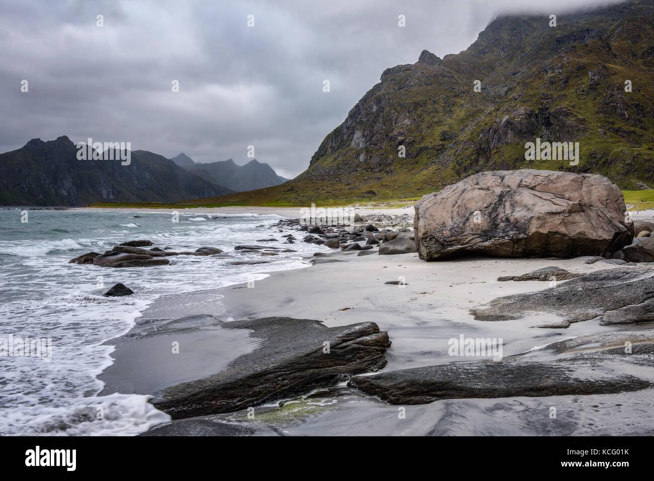 Spiaggia di uttakleiv Immagini Stock