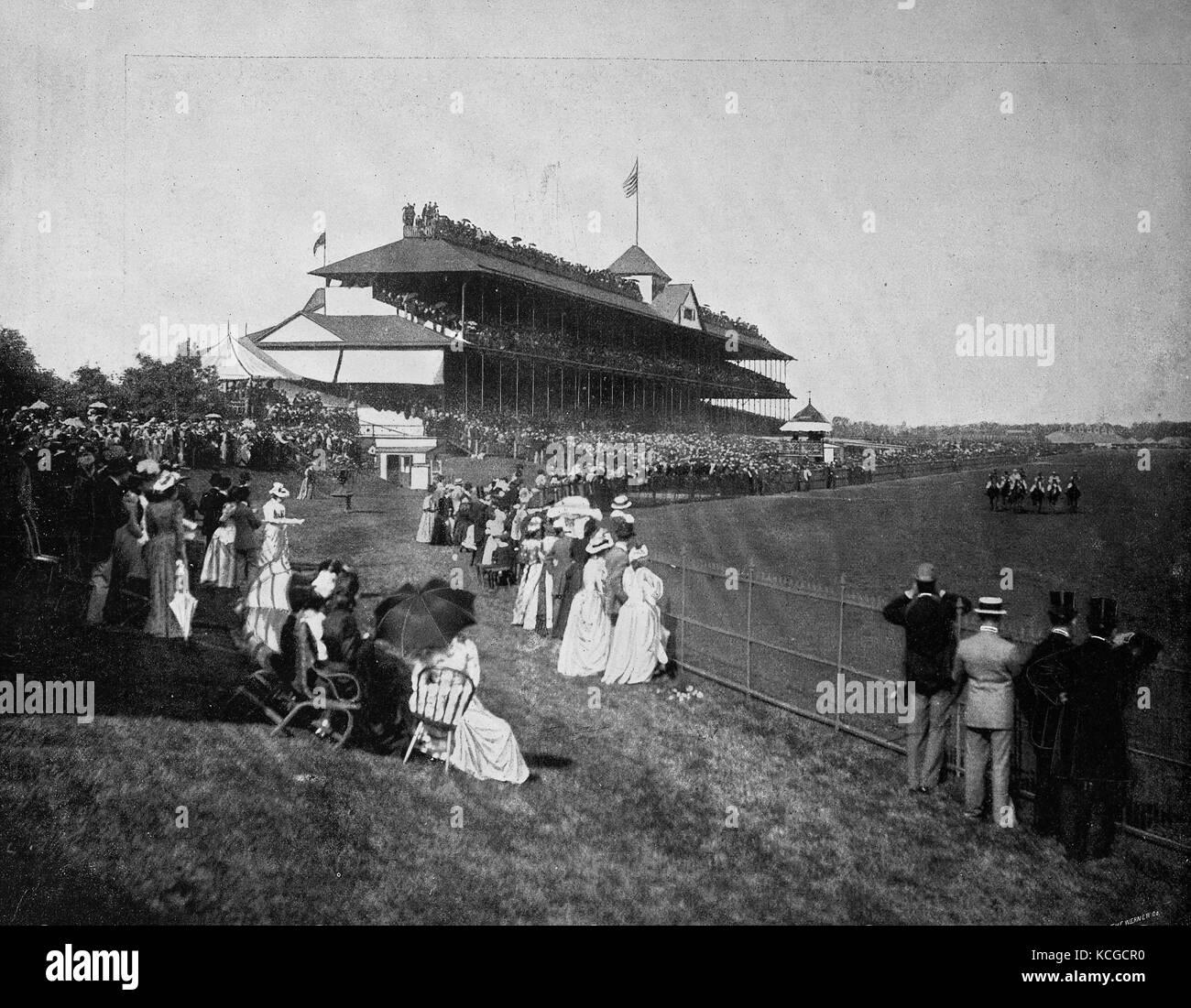 Stati Uniti d'America, corse di cavalli, Derby a Washington Park di Chicago, Stato di Illinois, digitale migliorata Immagini Stock