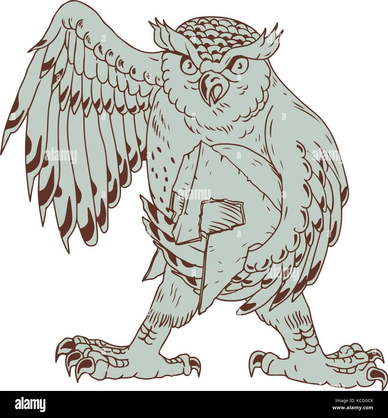 Disegno stile sketch illustrazione di un arrabbiato grande gufo cornuto azienda spartan battle-indossato il casco Immagini Stock