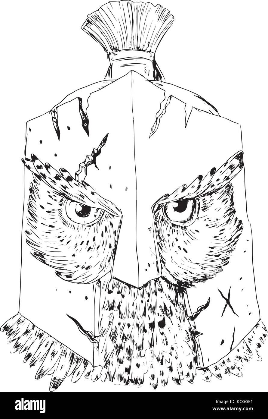 Disegno stile sketch illustrazione di un grande gufo cornuto indossando spartan incrinato battaglia-indossato il Immagini Stock