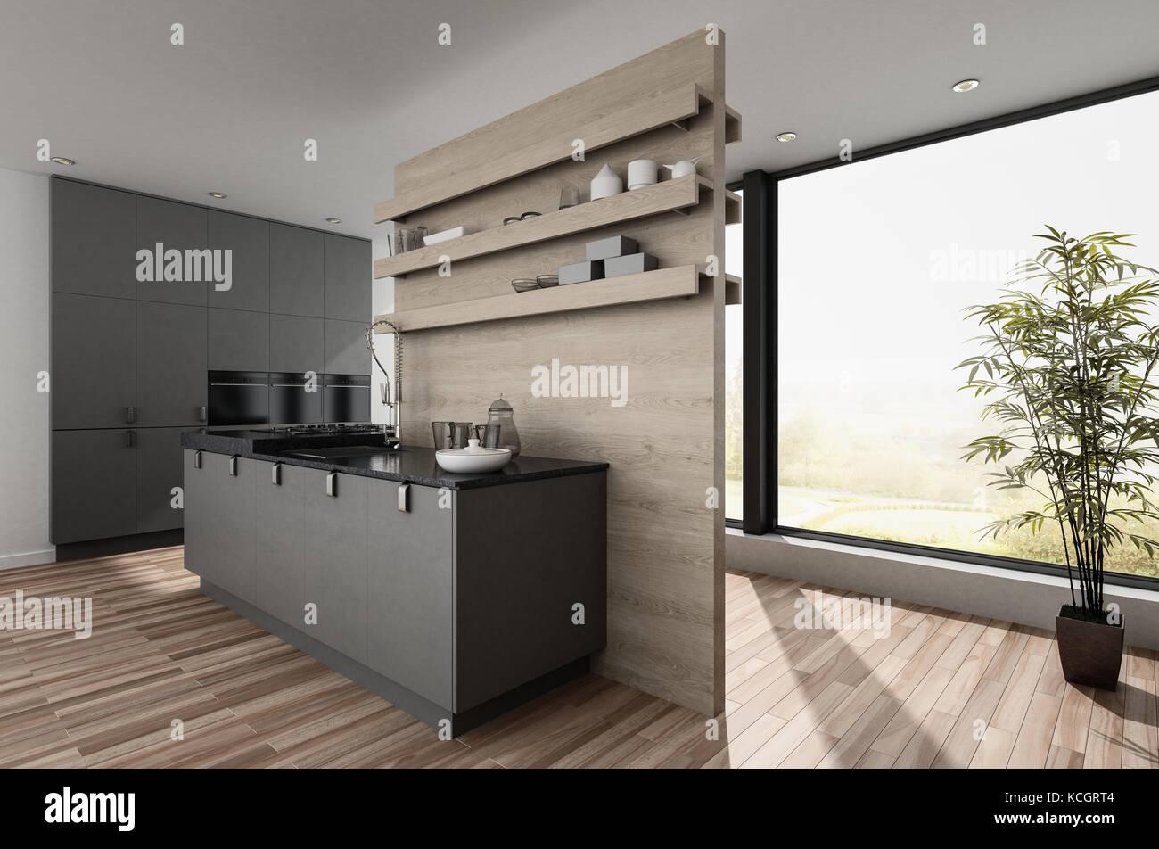 Parete Divisoria In Legno piccola e compatta angolo cottura moderno sala con parete
