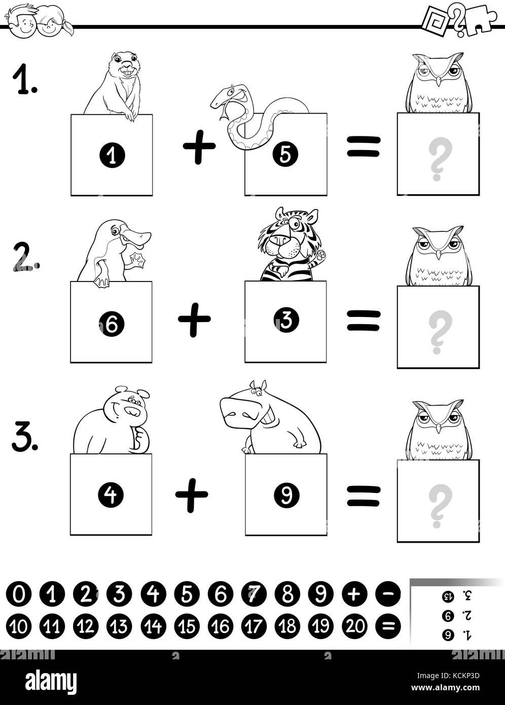 Bianco E Nero Cartoon Illustrazione Della Matematica Educative Oltre