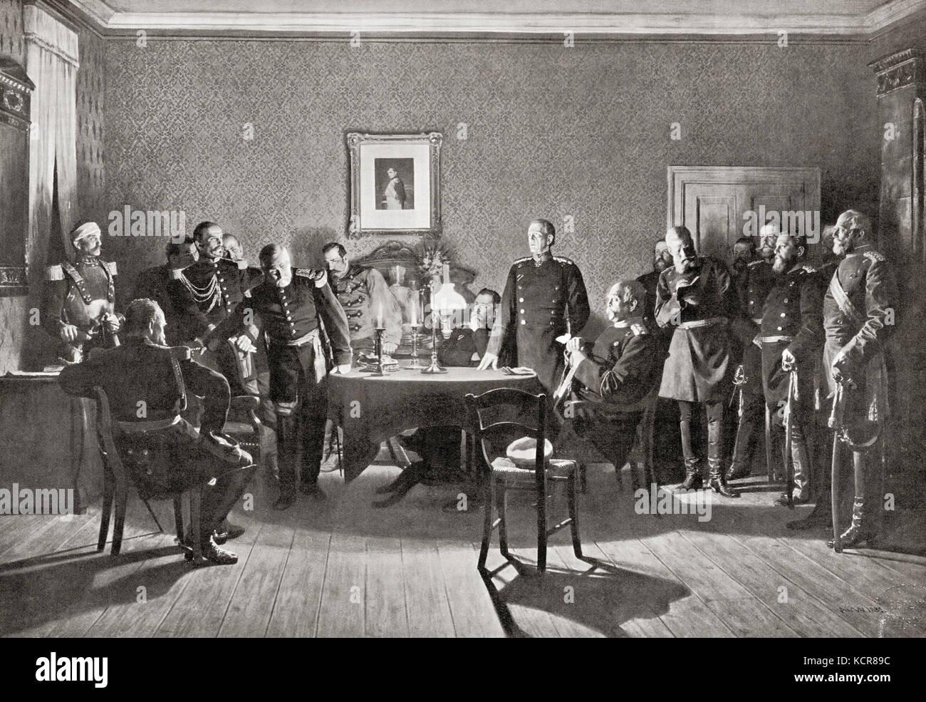 La rinuncia di Napoleone III per i prussiani dopo la battaglia di sedan durante il franco-prussiana di aka di guerra Immagini Stock