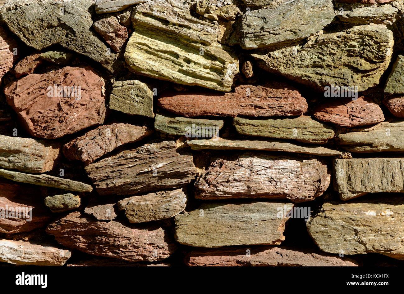 Pietra locale parete in Devon England Regno Unito Immagini Stock