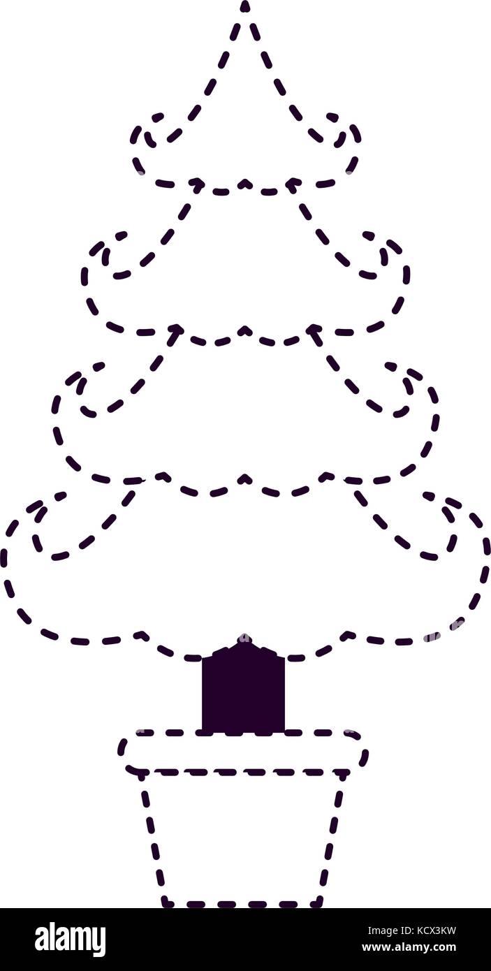 Immagini Natale In Bianco E Nero.Albero Di Natale In Plantpot Su Punteggiata Silhouette In
