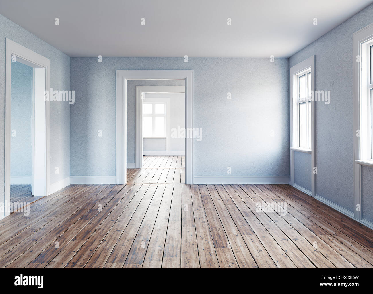 Il moderno interno vuoto camere. Il rendering 3D Immagini Stock