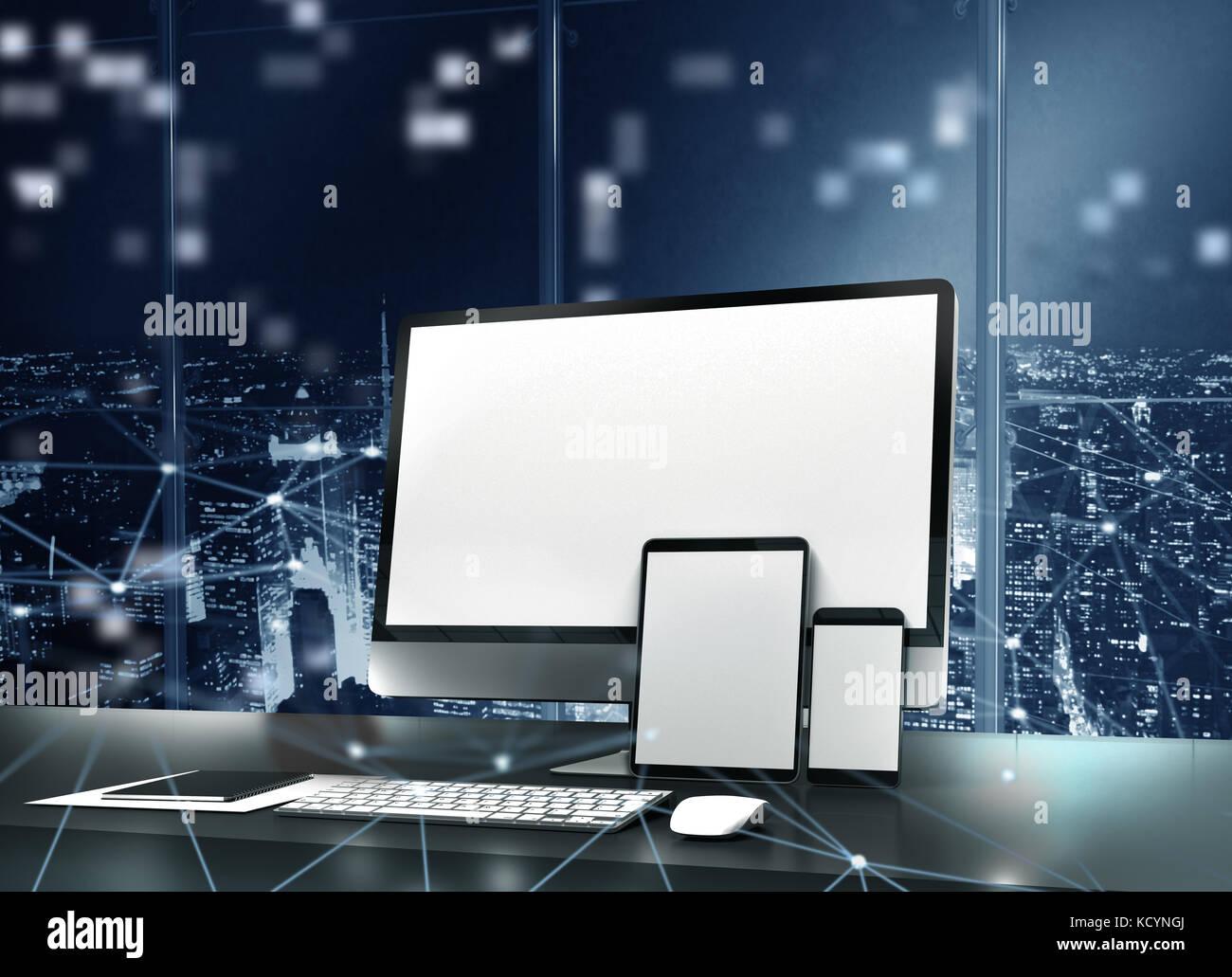 Computer, tablet e smartpone connesso a internet. Concetto della rete internet Immagini Stock