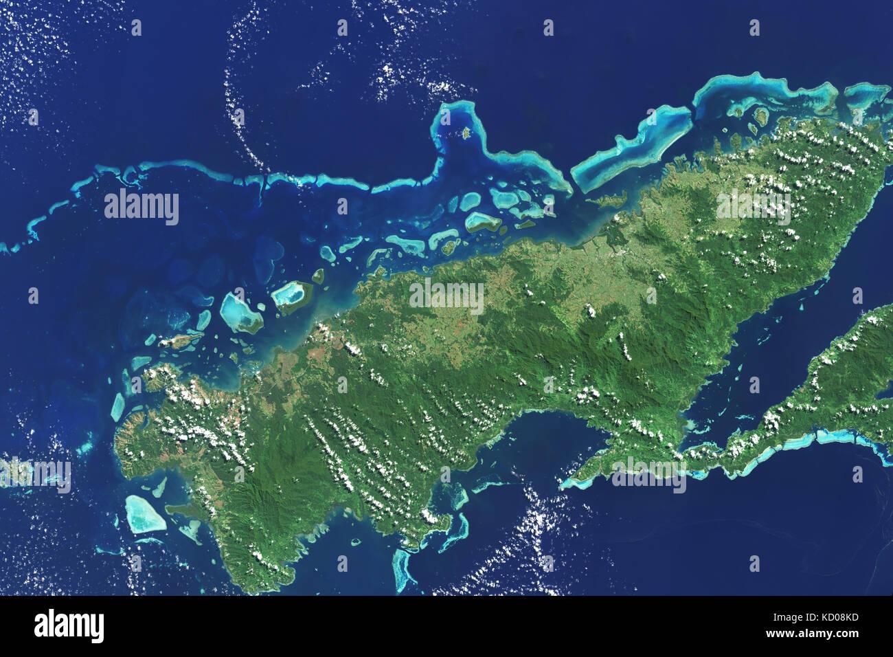 Immagine satellitare della estese barriere coralline sulla sponda Nord di Vanua Levu, isole Figi è la seconda Immagini Stock