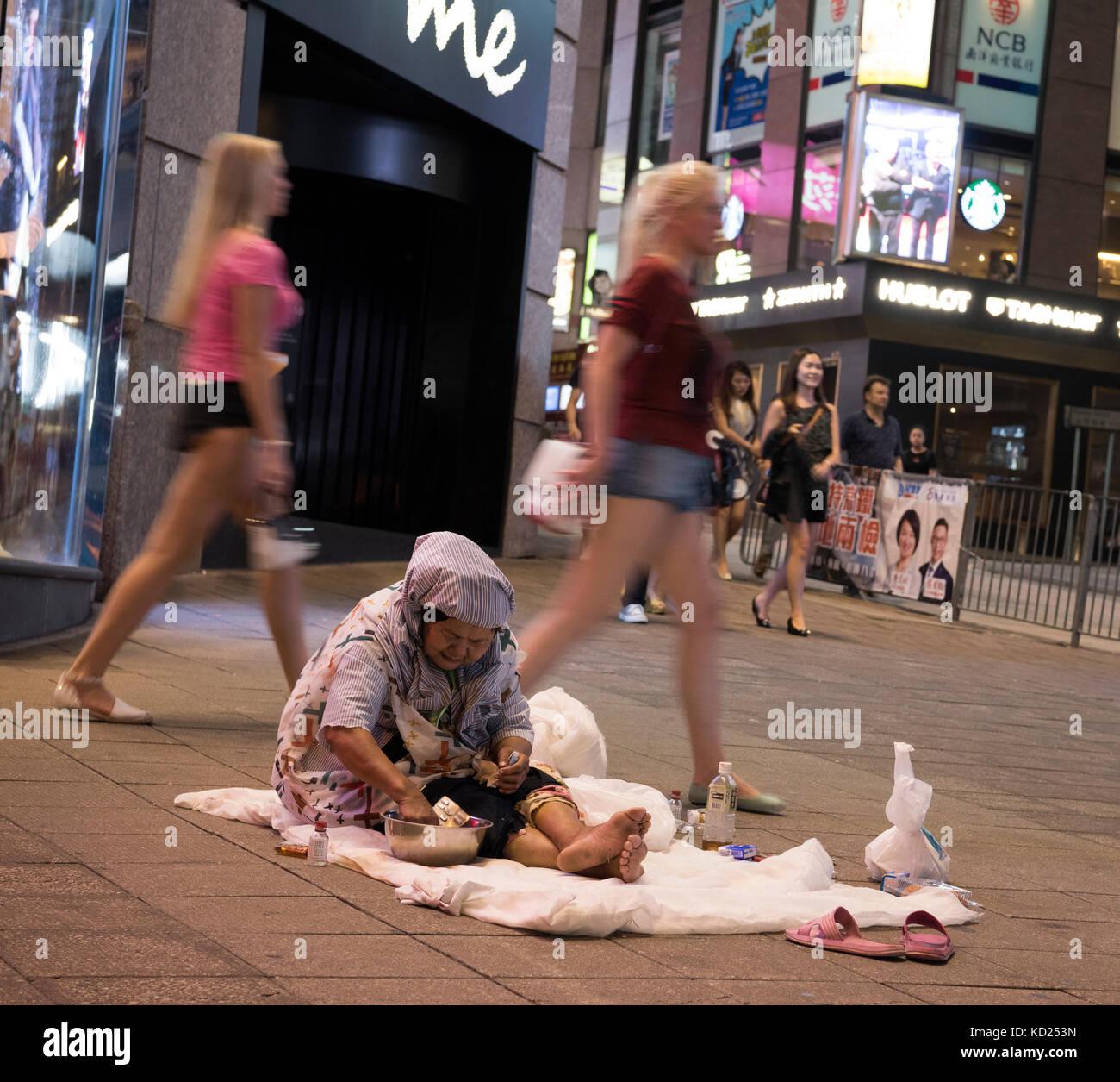 La povertà e i senzatetto, Hong Kong, Cina. Immagini Stock