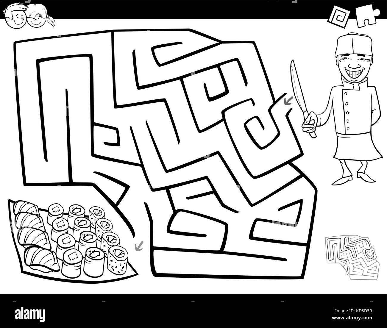 Bianco E Nero Cartoon Illustrazione Del Labirinto Di Istruzione O