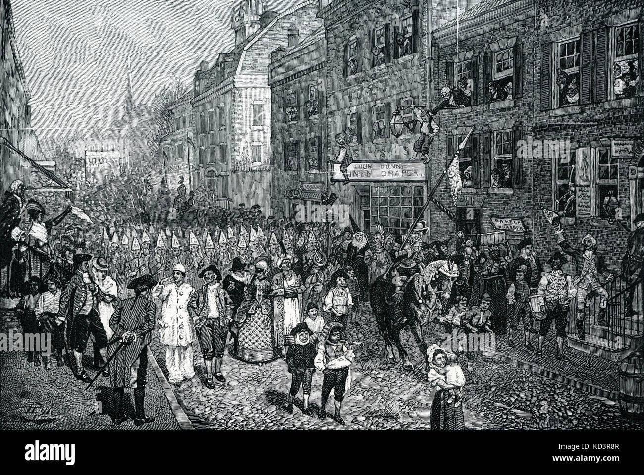 Carnevale di Lenten, Philadelphia, America coloniale, 1700. Illustrazione di Howard Pyle, 1901 Foto Stock
