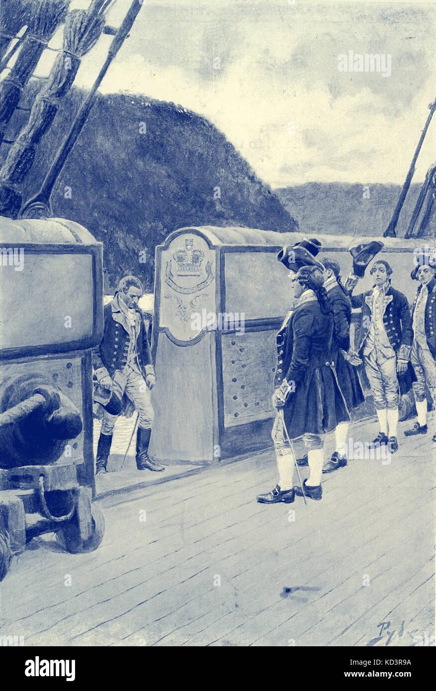La fuga del generale rivoluzionario americano Benedict Arnold (1741 - 1801) sulla nave britannica Vulture, 1780, dopo aver sfidato gli inglesi. Rivoluzione americana. Illustrazione di Howard Pyle, 1896 Foto Stock