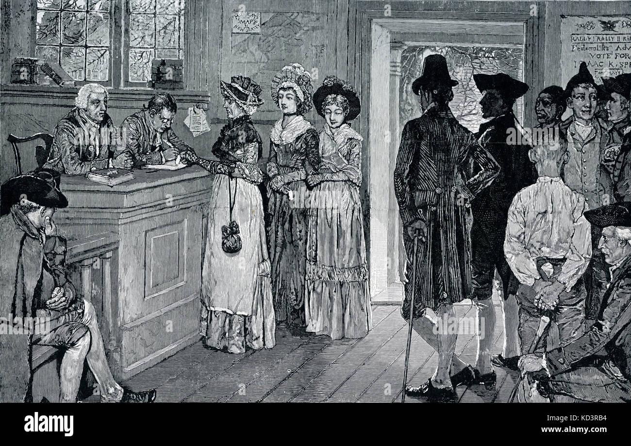 Donne che votano ai sondaggi nel New Jersey - le donne hanno avuto il voto dal 1790 al 1807, quando l'Assemblea Generale ha limitato il suffragio a cittadini liberi, bianchi, maschi. Illustrazione di Howard Pyle, 1880 Foto Stock