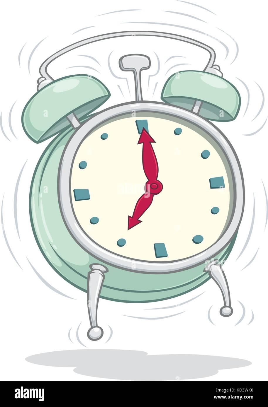Disegno Sveglia Che Suona.Vector Cartoon Di Un Vecchio Orologio Sveglia Che Suona