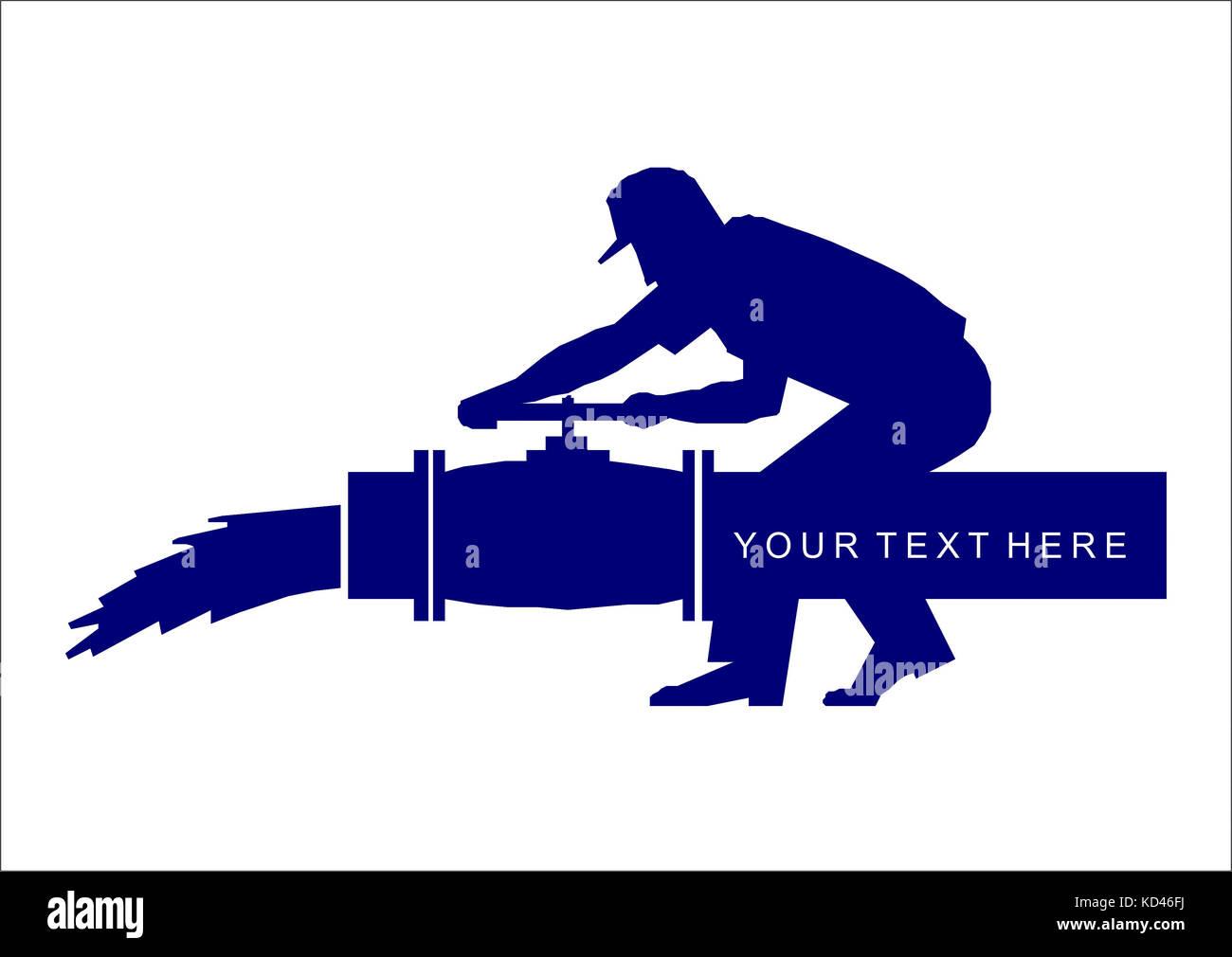 L'uomo si chiude la valvola sulla pipeline. clip art sul bianco backgrounde Immagini Stock
