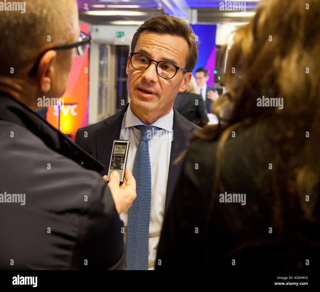 La svedese elezione anno 2018 iniziò con un party leadership dibattito in televisione svedese,il nuovo moderaternas Immagini Stock