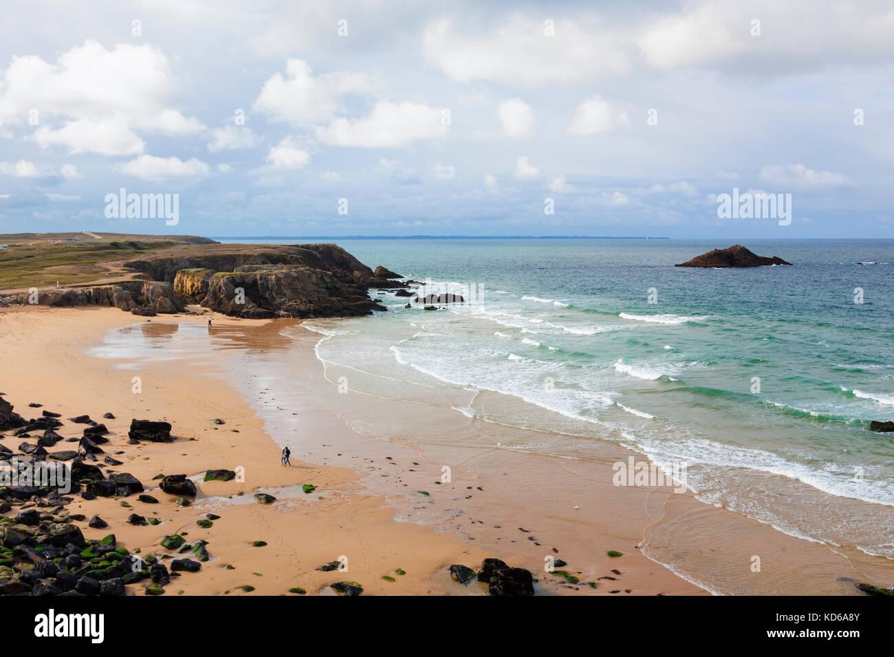 Cote Sauvage, la costa occidentale del Quiberon Immagini Stock