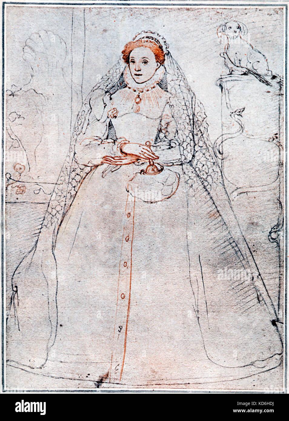 La regina Elisabetta I dopo un pastello originale disegno da F. Zuccero, Londra 1575. Regina d Inghilterra, 1533-1603. Foto Stock