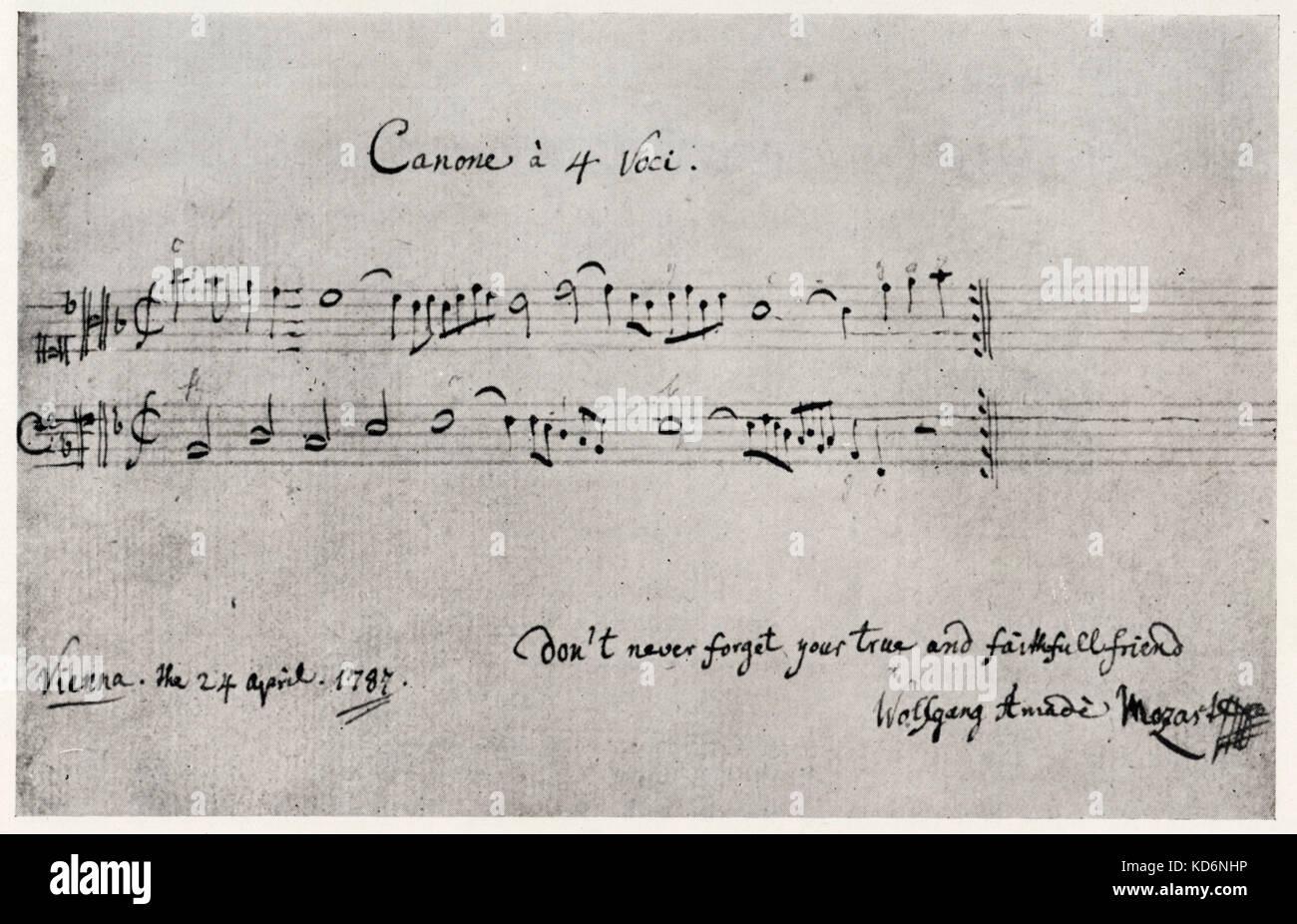Wolfgang Amadeus Mozart S Firma In Inglese Alla Fine Di Un Canonico
