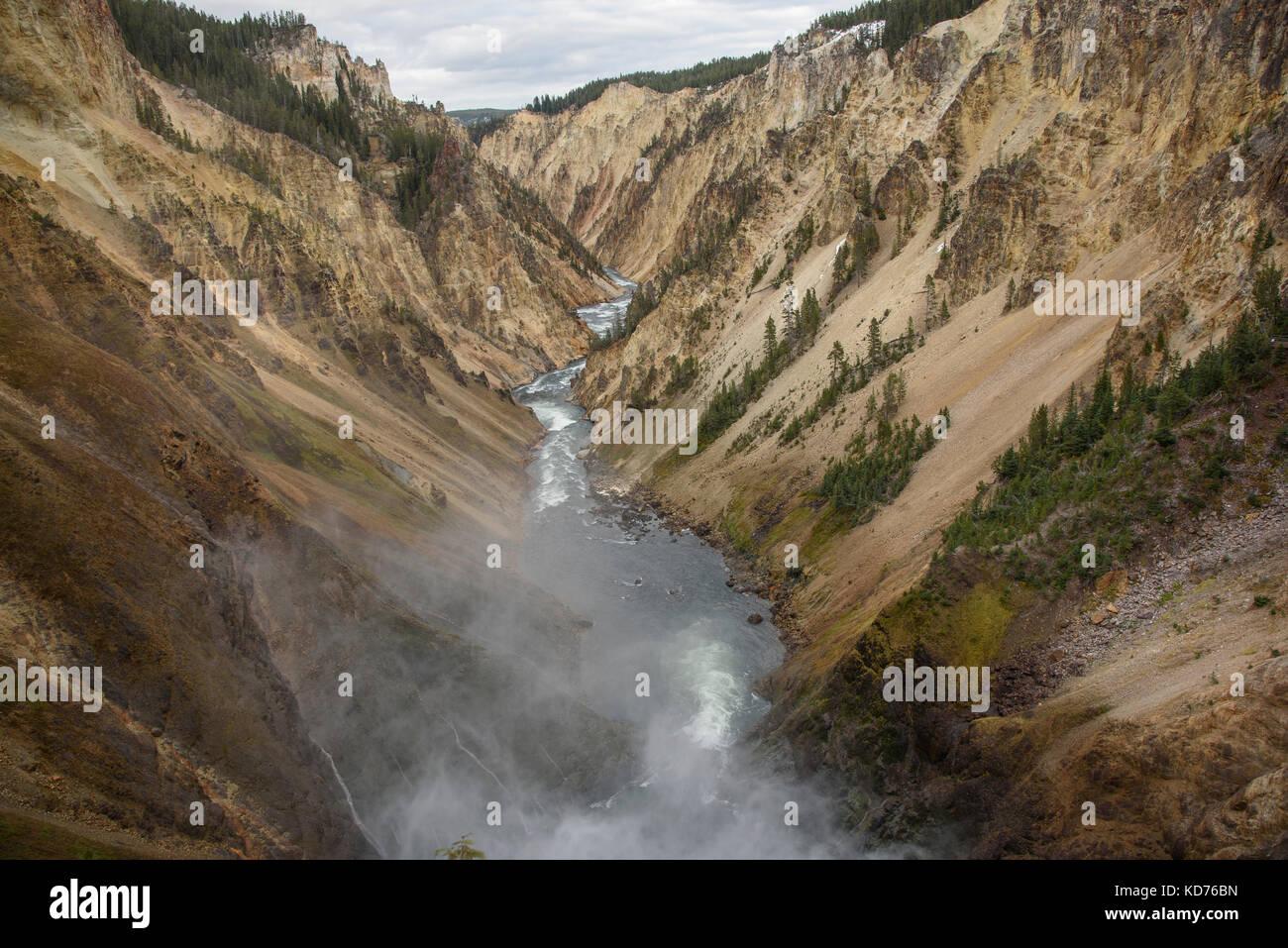 Grand Canyon di Yellowstone presso il parco nazionale di Yellowstone Immagini Stock