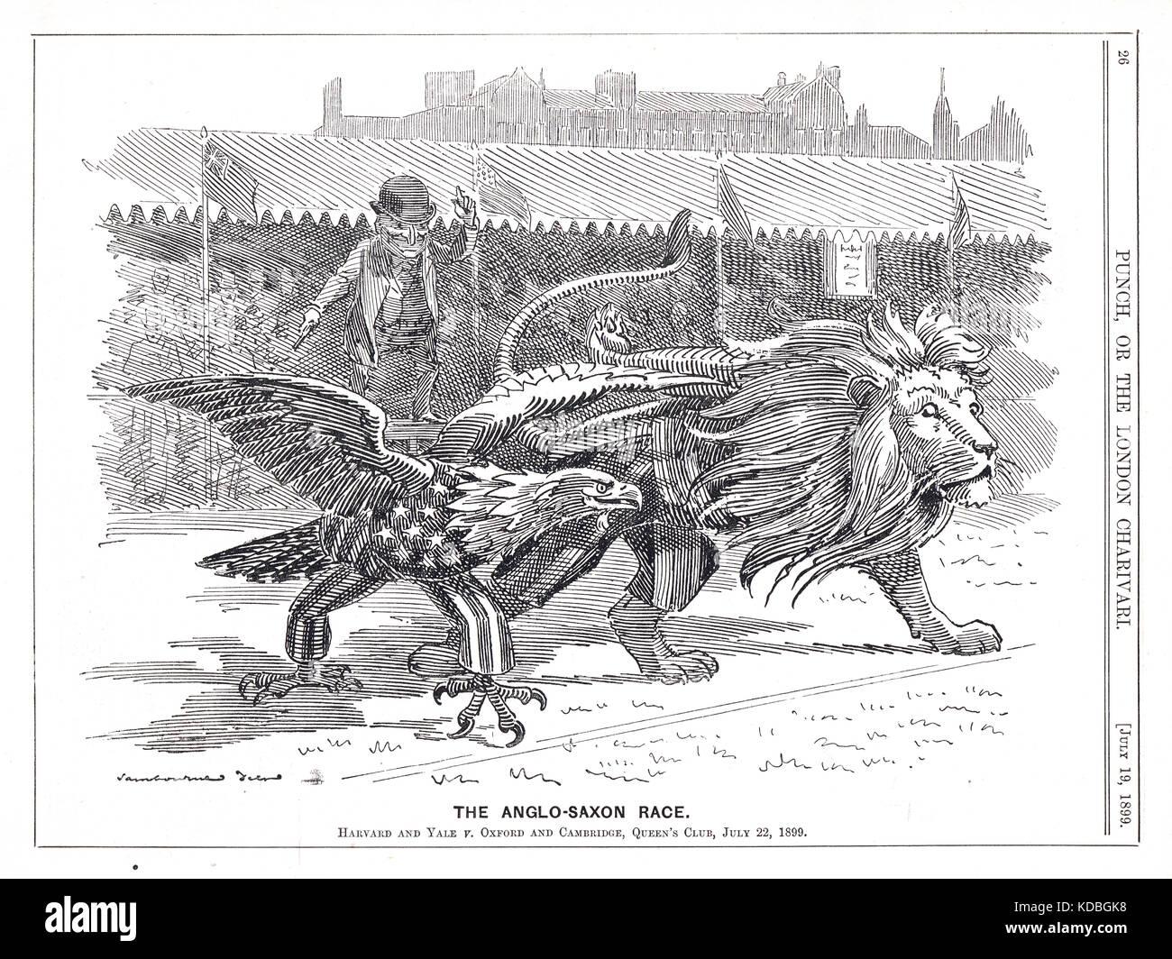 Meeting di atletica a Queen's club, 22 luglio 1899. Oxford e Cambridge v. Harvard e Yale.università. punch Immagini Stock