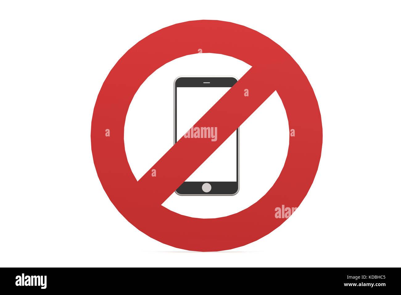 Telefono Cellulare Vietato N Telefono Cellulare Segno Isolato Su