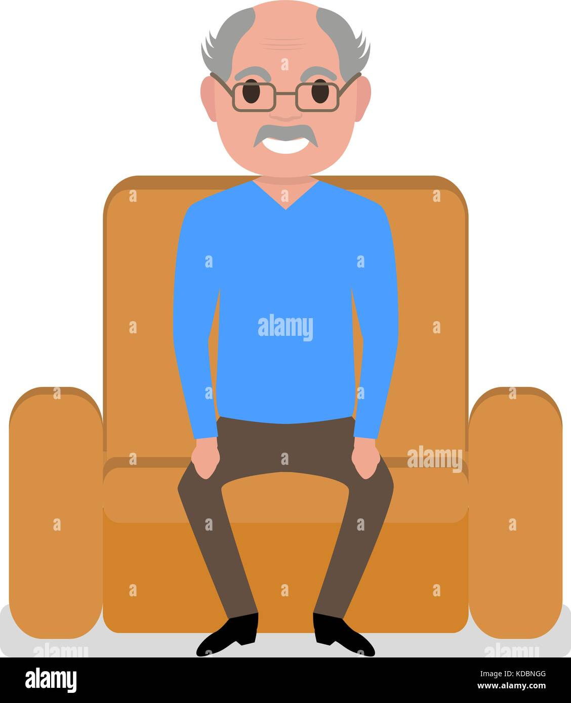 Nonno In Poltrona.Vector Cartoon Nonno Seduto In Poltrona Illustrazione