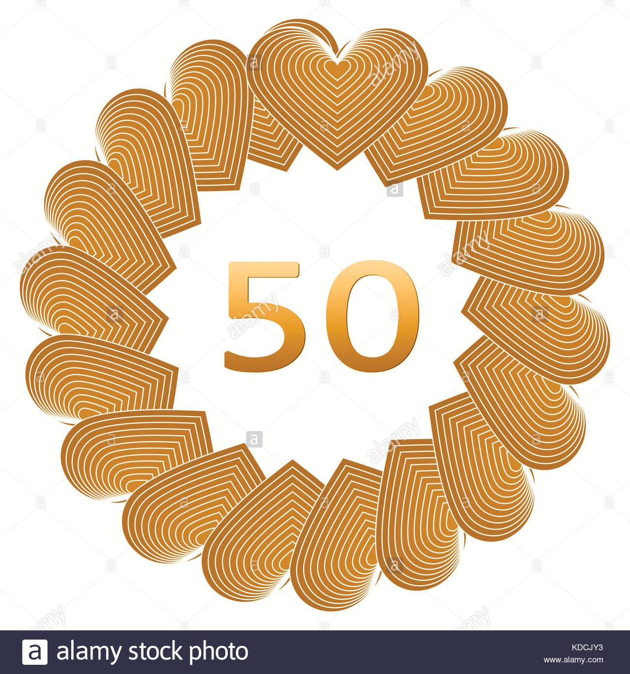 Anniversario Golden Buon Compleanno Segno Per 50 Anni Illustrazione