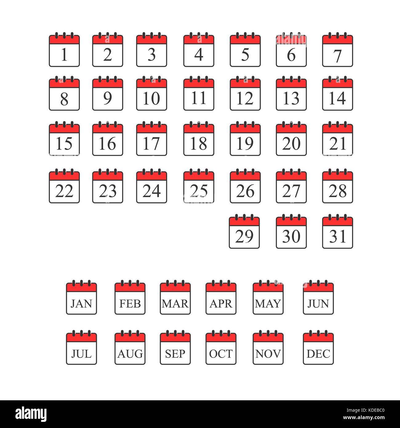 Icona calendario illustrazione vettoriale EPS10. isolato Immagini Stock