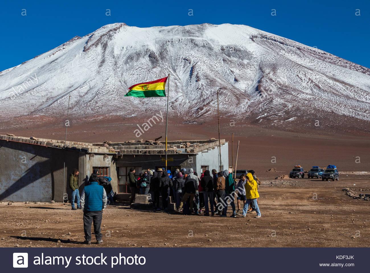 Border Bolivia Cile, accanto al Vulcano Juriques Immagini Stock