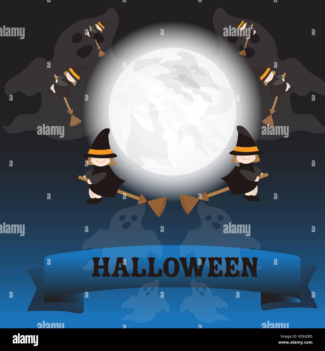 Halloween notte di luna piena e fantasma sullo sfondo della strega