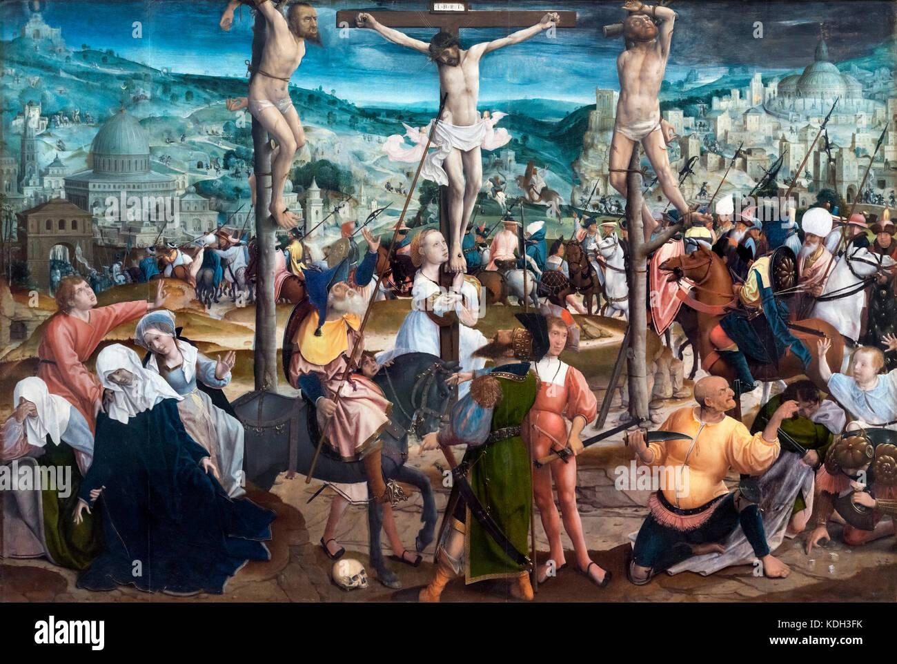 Crocifissione di Jan Provoost (1462-1529), olio su pannello, c.1501-1505 Immagini Stock