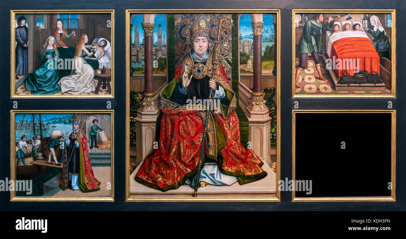 Retablo di San Nicola dal Maestro della leggenda di Santa Lucia (Meester van de Legende van de Heilige Lucia: c.1430/40 Immagini Stock