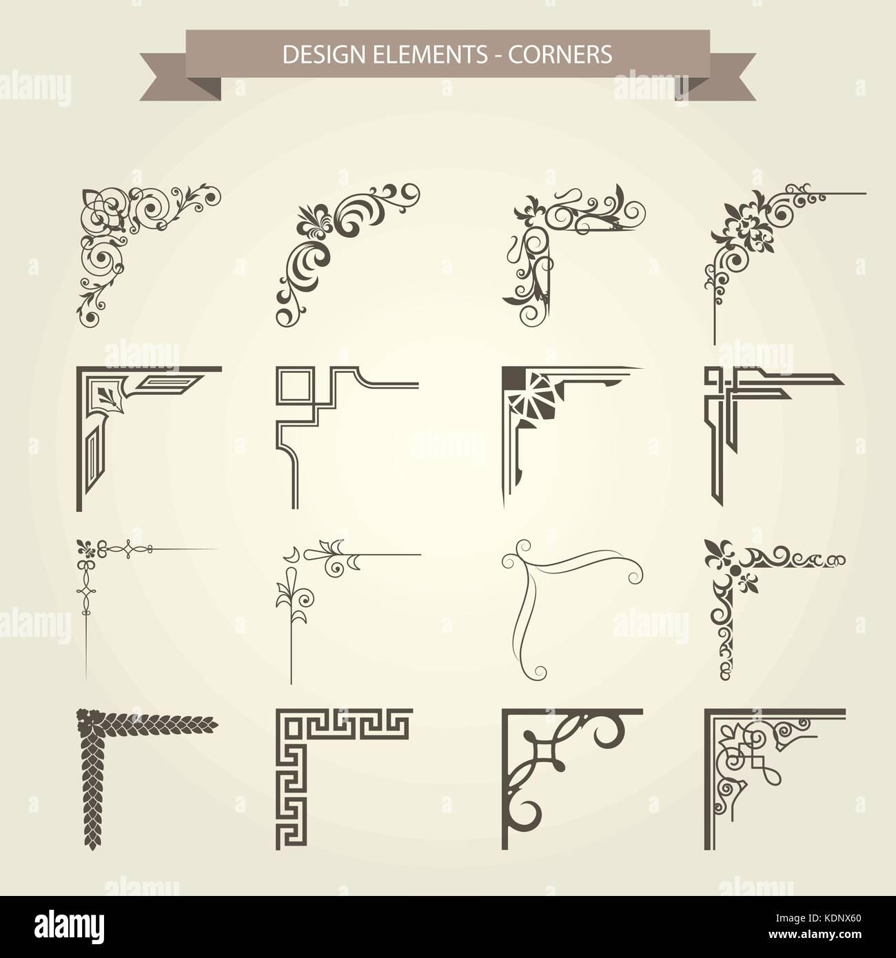 Angolo vintage vignette set - bordo del frame fiorire pattern Immagini Stock