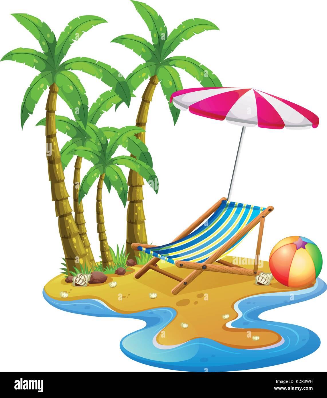Disegni Di Spiaggia E Ombrelloni.Scena Di Spiaggia Con Sdraio E Ombrelloni Illustrazione
