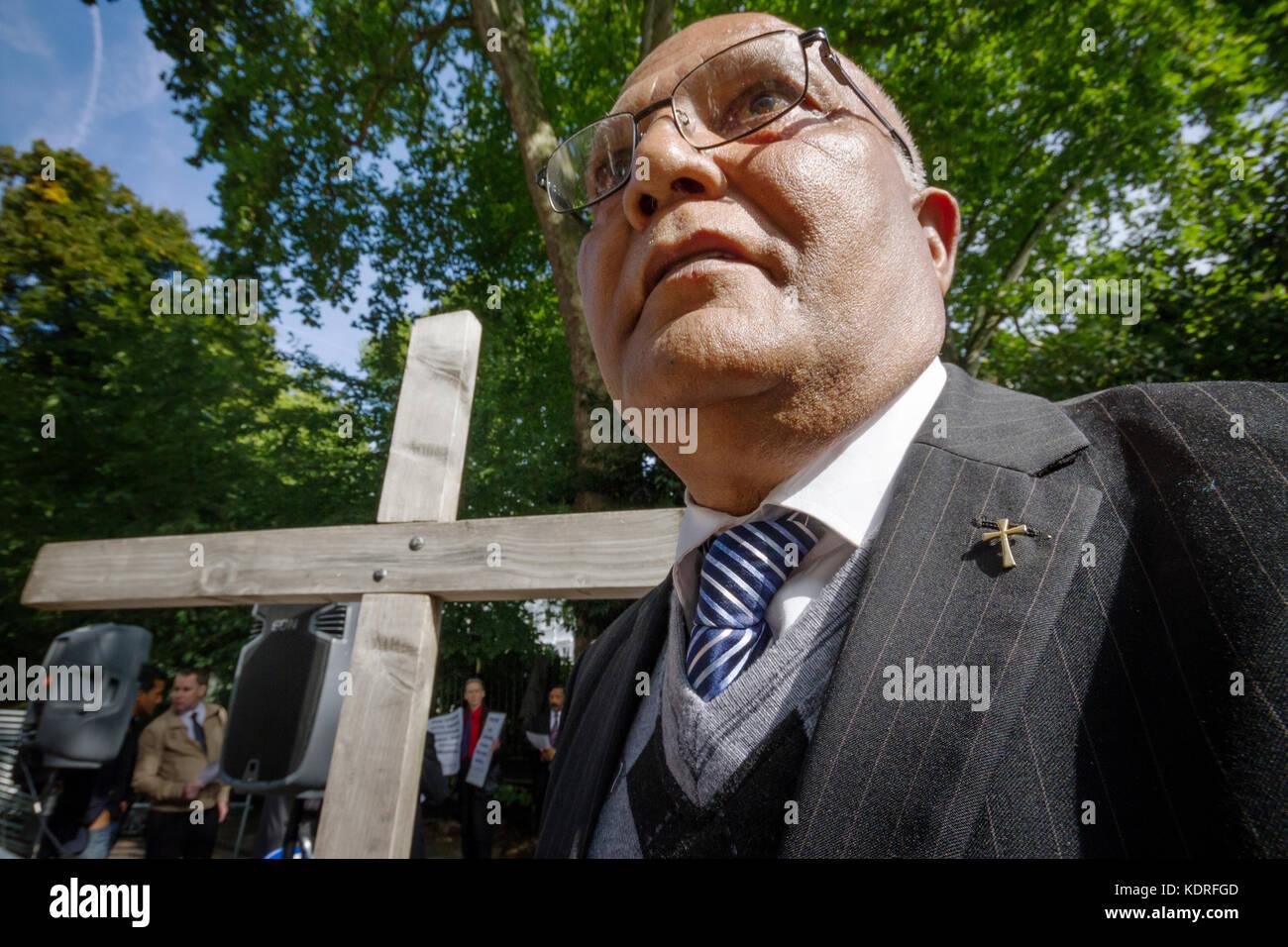 British cristiani pakistani protestare fuori ad Alta Commissione del Pakistan in Londra, Regno Unito. Immagini Stock
