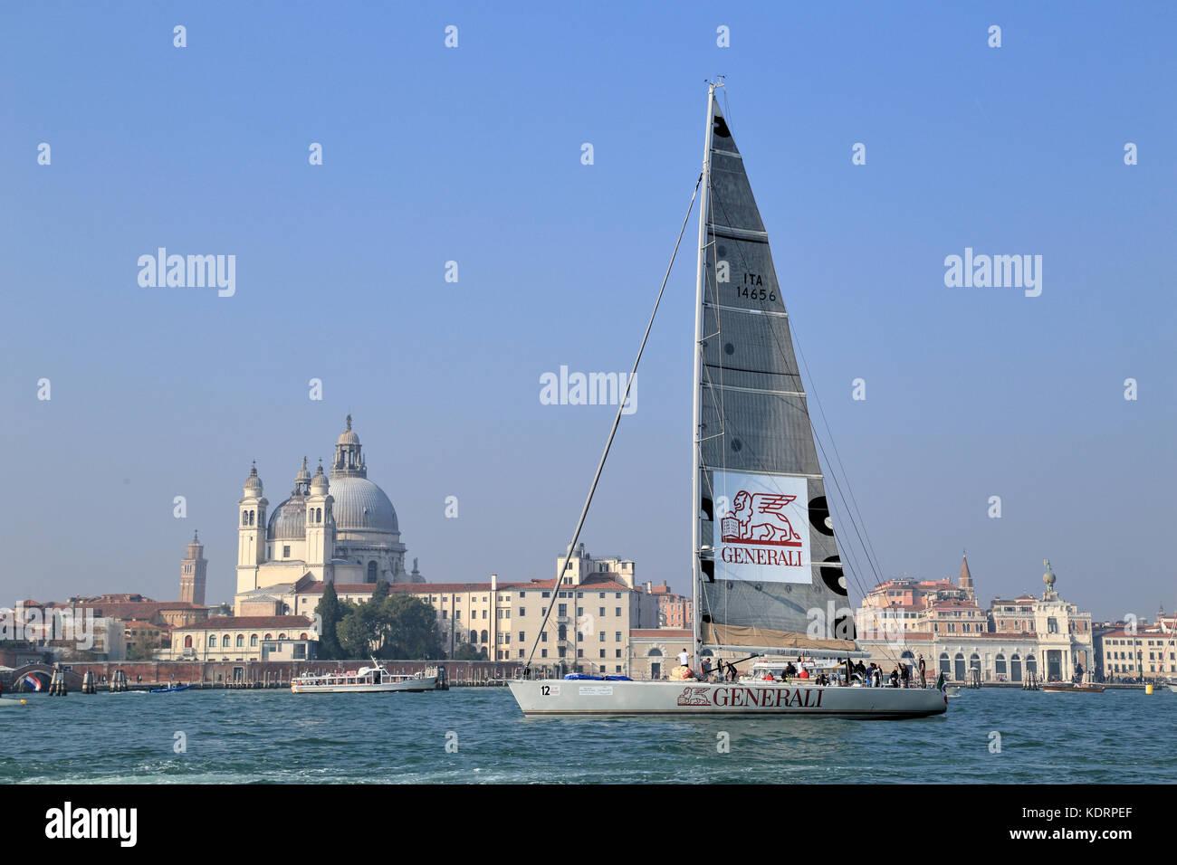 Barca a vela maxi yacht Anemos a Venezia Ospitalità Challenge 2017 Immagini Stock
